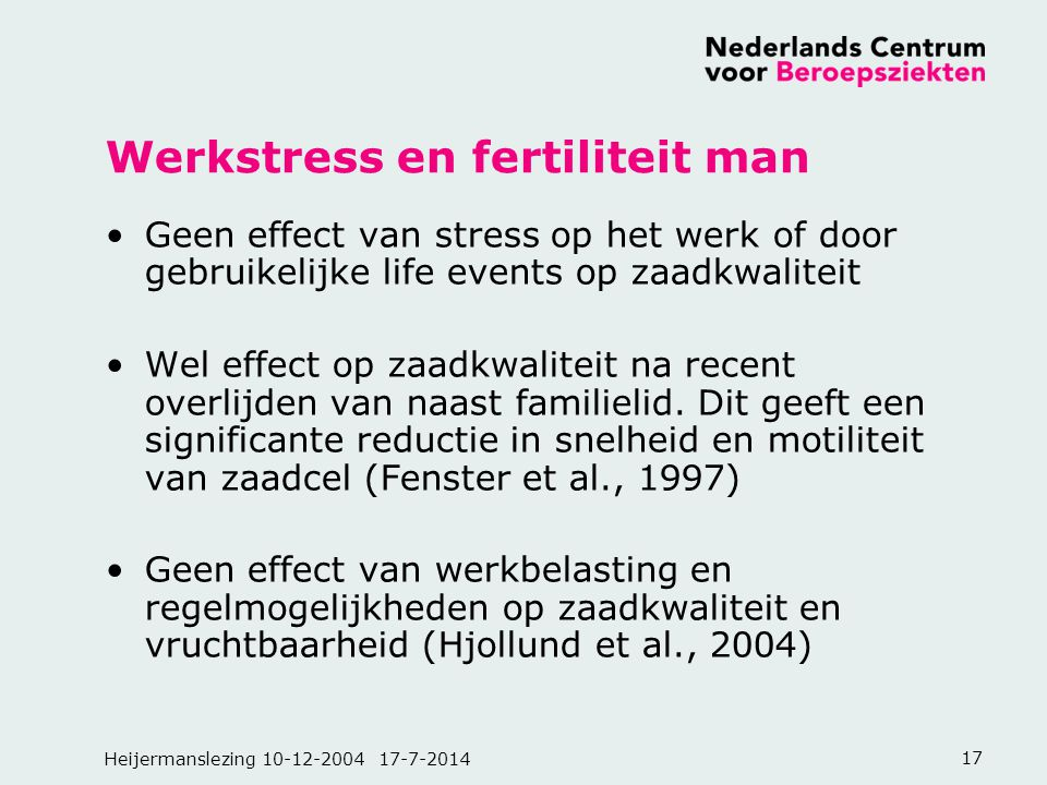 Werkstress en fertiliteit man
