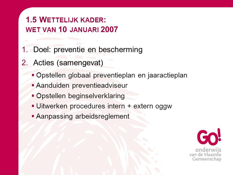 1.5 Wettelijk kader: wet van 10 januari 2007