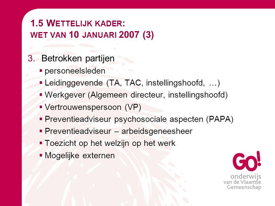 1.5 Wettelijk kader: wet van 10 januari 2007 (3)
