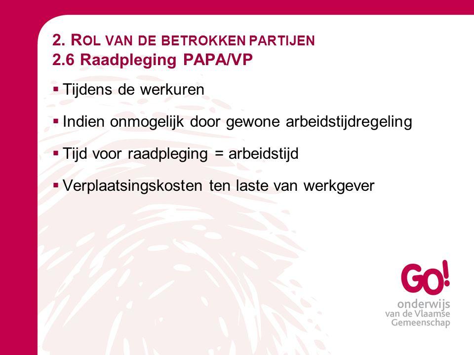 2. Rol van de betrokken partijen 2.6 Raadpleging PAPA/VP