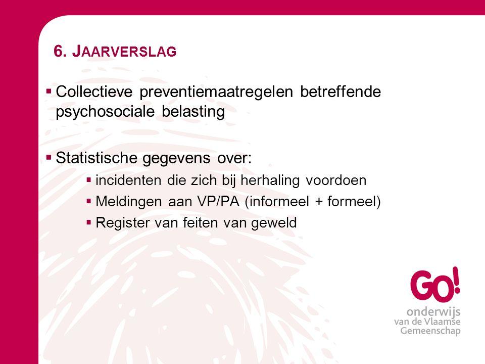 6. Jaarverslag Collectieve preventiemaatregelen betreffende psychosociale belasting. Statistische gegevens over: