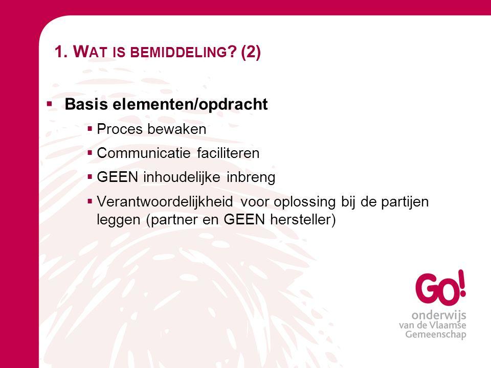 1. Wat is bemiddeling (2) Basis elementen/opdracht Proces bewaken