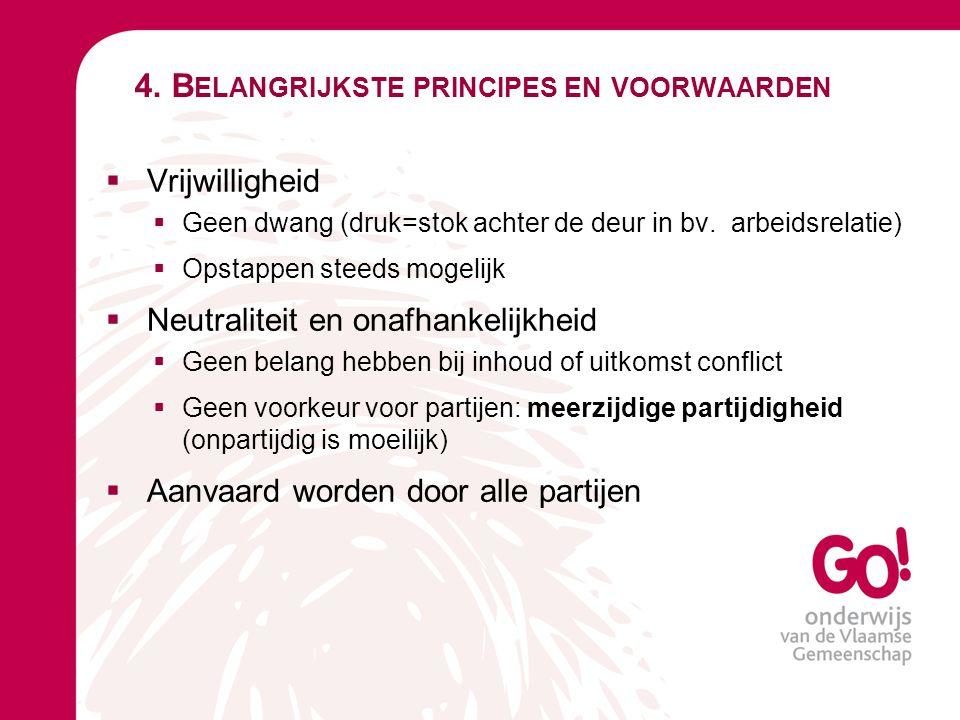 4. Belangrijkste principes en voorwaarden