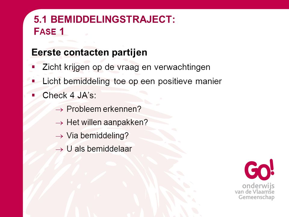 5.1 BEMIDDELINGSTRAJECT: Fase 1