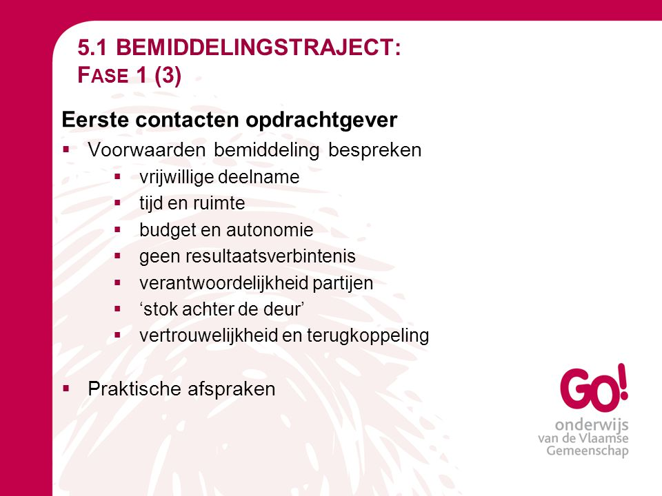 5.1 BEMIDDELINGSTRAJECT: Fase 1 (3)