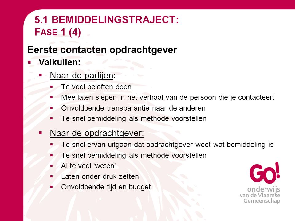 5.1 BEMIDDELINGSTRAJECT: Fase 1 (4)
