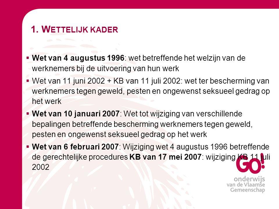 1. Wettelijk kader Wet van 4 augustus 1996: wet betreffende het welzijn van de werknemers bij de uitvoering van hun werk.