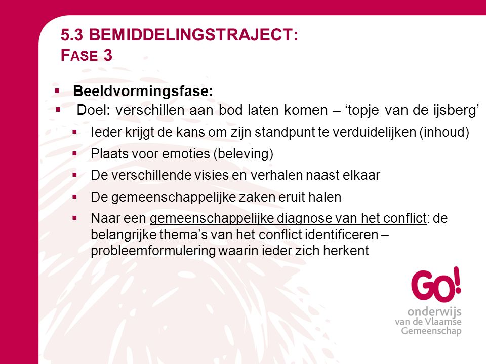 5.3 BEMIDDELINGSTRAJECT: Fase 3