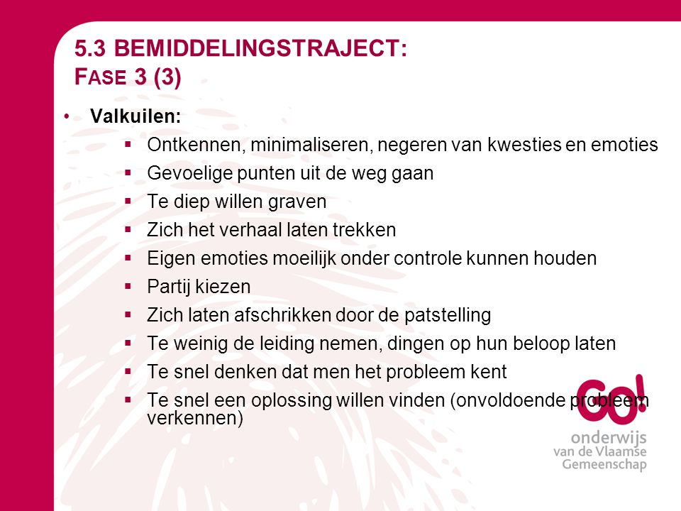 5.3 BEMIDDELINGSTRAJECT: Fase 3 (3)