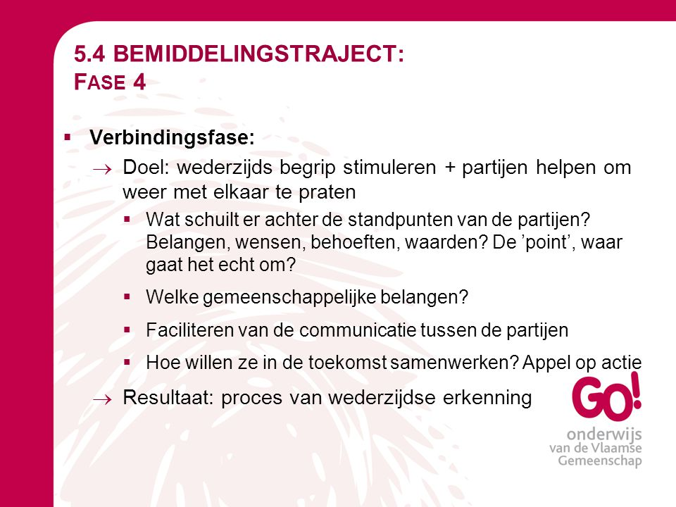 5.4 BEMIDDELINGSTRAJECT: Fase 4