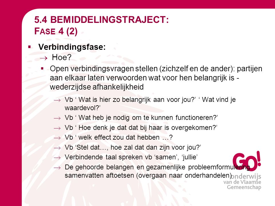 5.4 BEMIDDELINGSTRAJECT: Fase 4 (2)