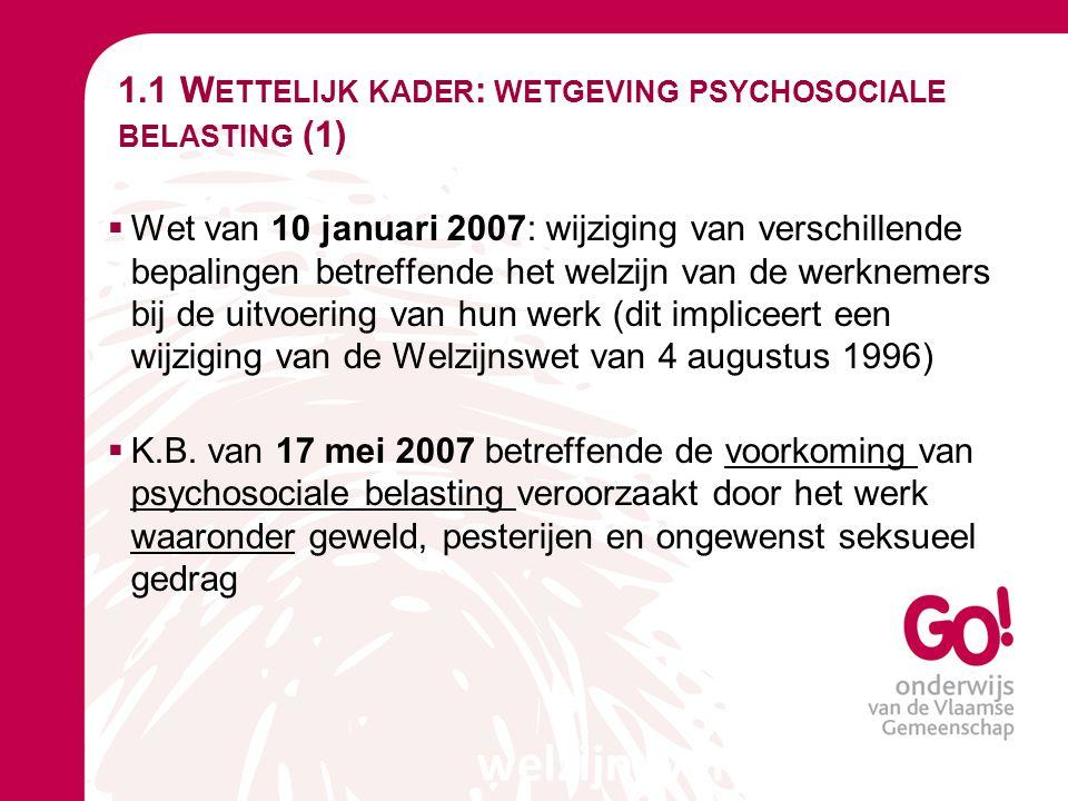 1.1 Wettelijk kader: wetgeving psychosociale belasting (1)