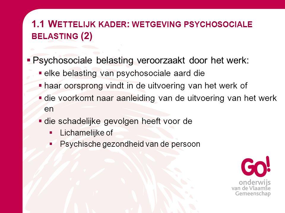 1.1 Wettelijk kader: wetgeving psychosociale belasting (2)