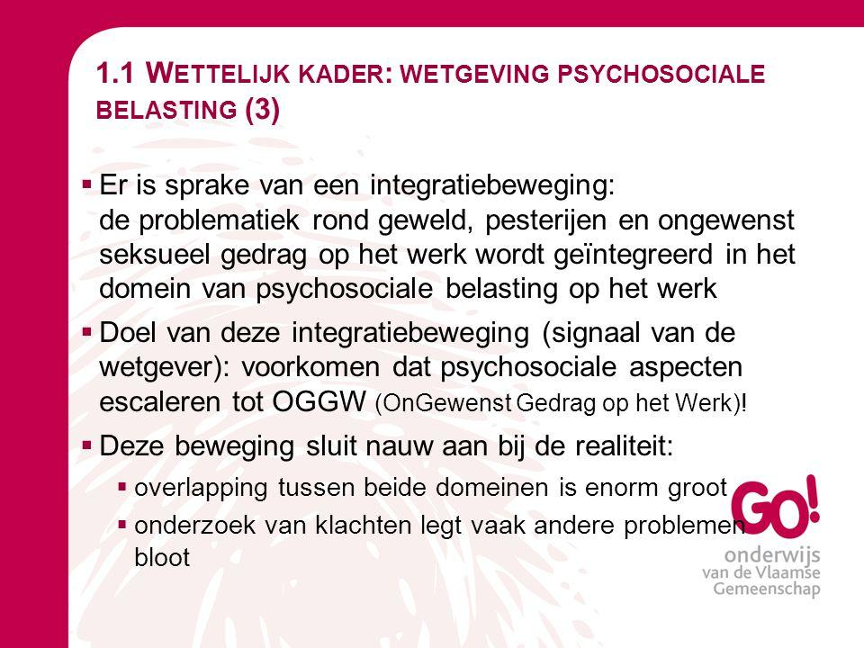 1.1 Wettelijk kader: wetgeving psychosociale belasting (3)
