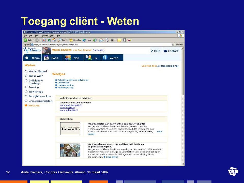 Toegang cliënt - Weten Anita Cremers, Congres Gemeente Almelo, 14 maart 2007