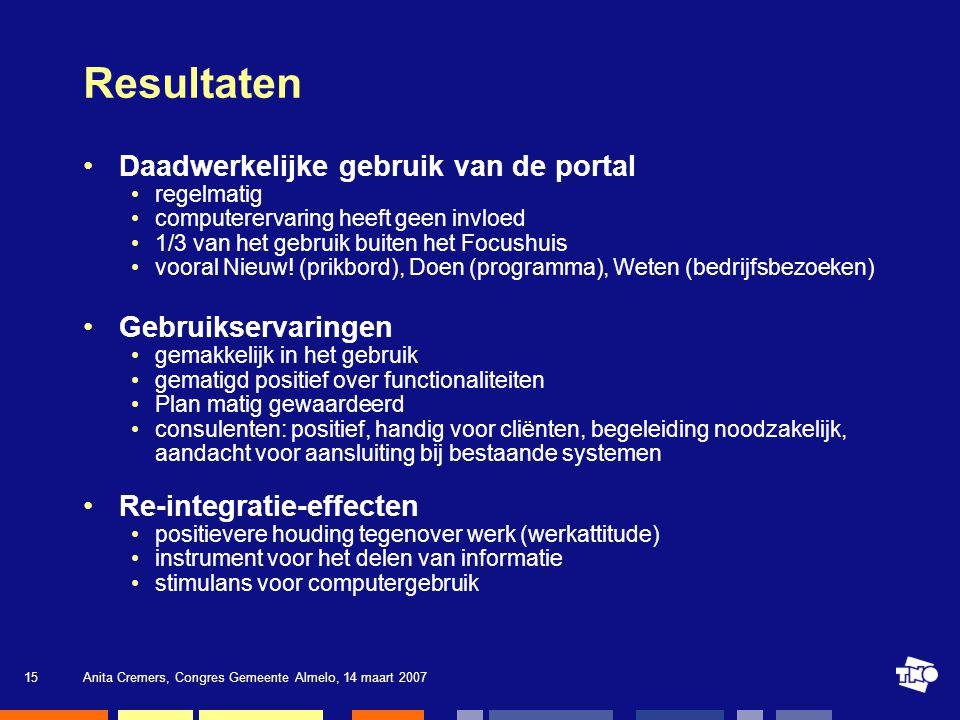 Resultaten Daadwerkelijke gebruik van de portal Gebruikservaringen