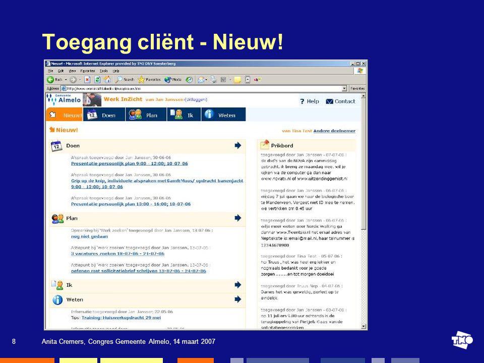 Toegang cliënt - Nieuw! Anita Cremers, Congres Gemeente Almelo, 14 maart 2007