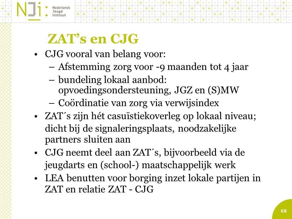 ZAT's en CJG CJG vooral van belang voor: