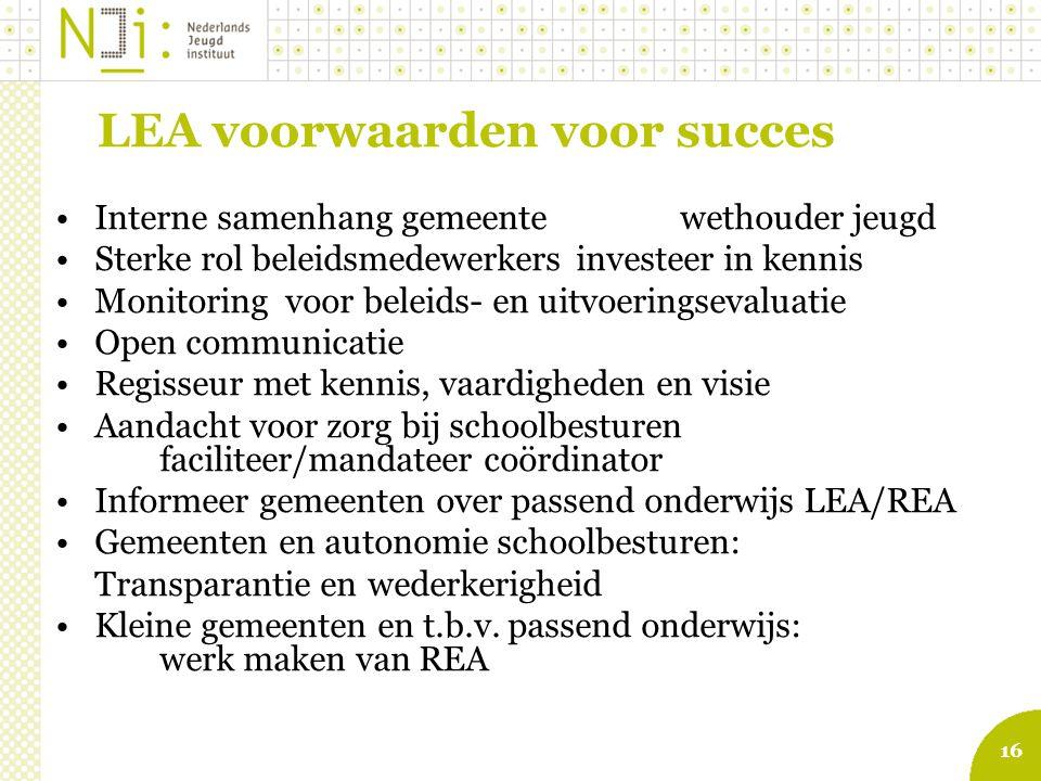 LEA voorwaarden voor succes