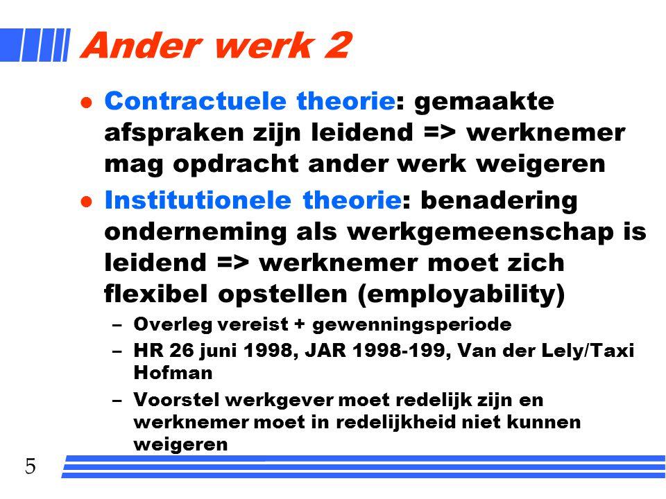 Ander werk 2 Contractuele theorie: gemaakte afspraken zijn leidend => werknemer mag opdracht ander werk weigeren.