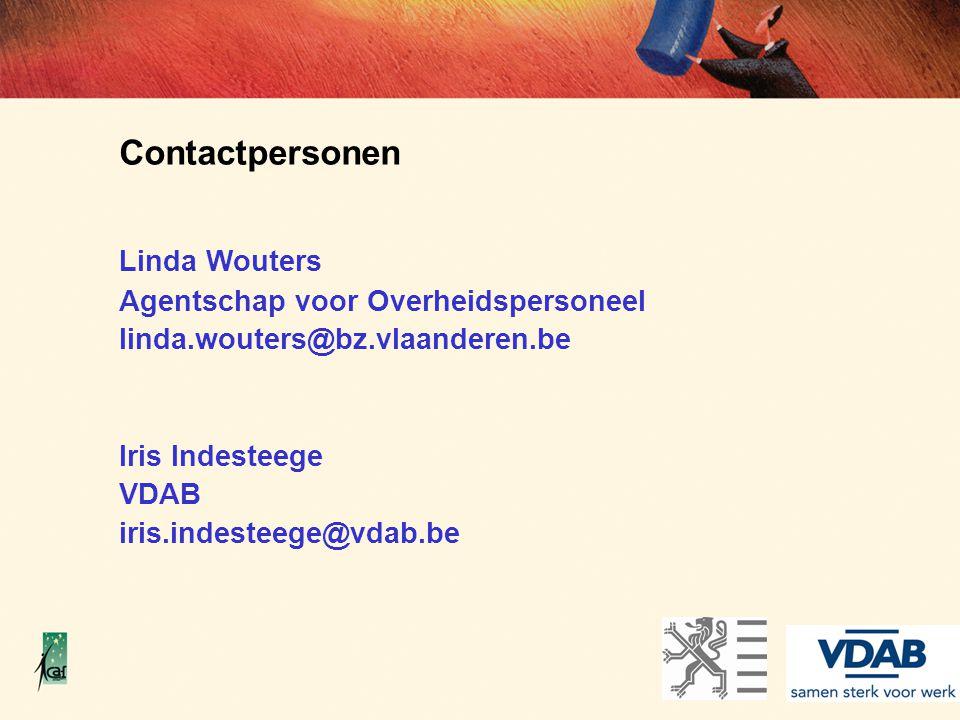 Contactpersonen Linda Wouters Agentschap voor Overheidspersoneel