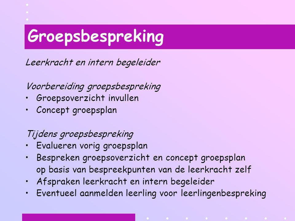 Groepsbespreking Leerkracht en intern begeleider