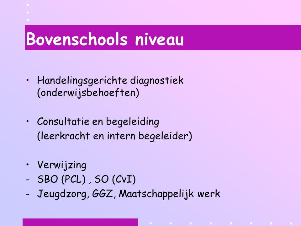Bovenschools niveau Handelingsgerichte diagnostiek (onderwijsbehoeften) Consultatie en begeleiding.