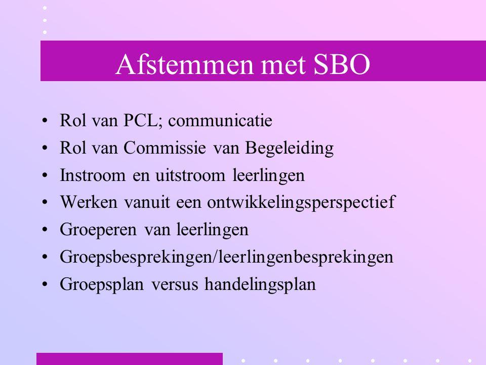 Afstemmen met SBO Rol van PCL; communicatie