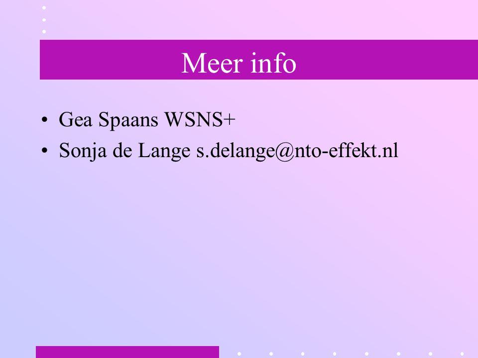 Meer info Gea Spaans WSNS+ Sonja de Lange s.delange@nto-effekt.nl