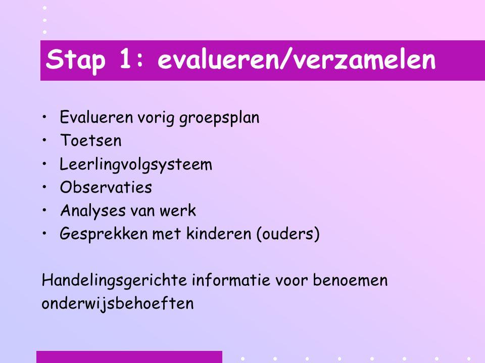 Stap 1: evalueren/verzamelen
