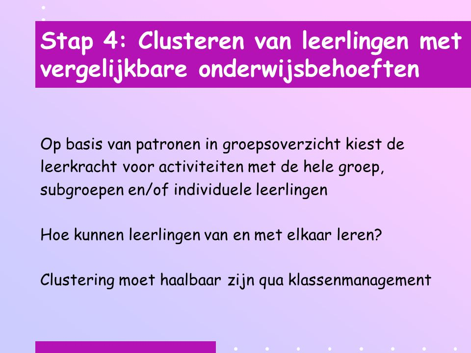 Stap 4: Clusteren van leerlingen met vergelijkbare onderwijsbehoeften