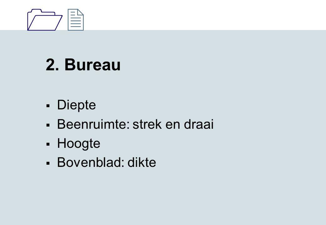 2. Bureau Diepte Beenruimte: strek en draai Hoogte Bovenblad: dikte
