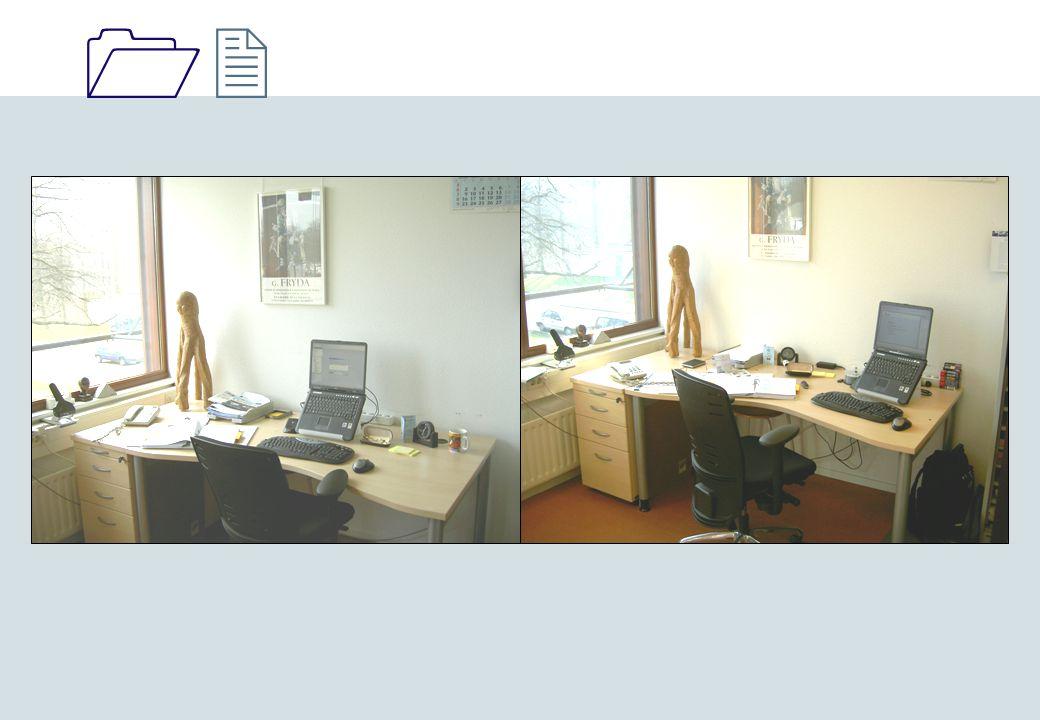 Vlindervorm bureau: Linker foto: PC in het midden, restplekken op je bureau onlogisch. Wat je ook doet zonder PC hij staat altijd in de weg.
