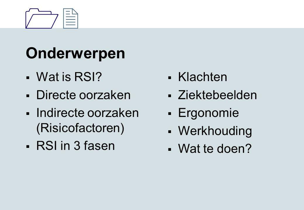 Onderwerpen Wat is RSI Directe oorzaken
