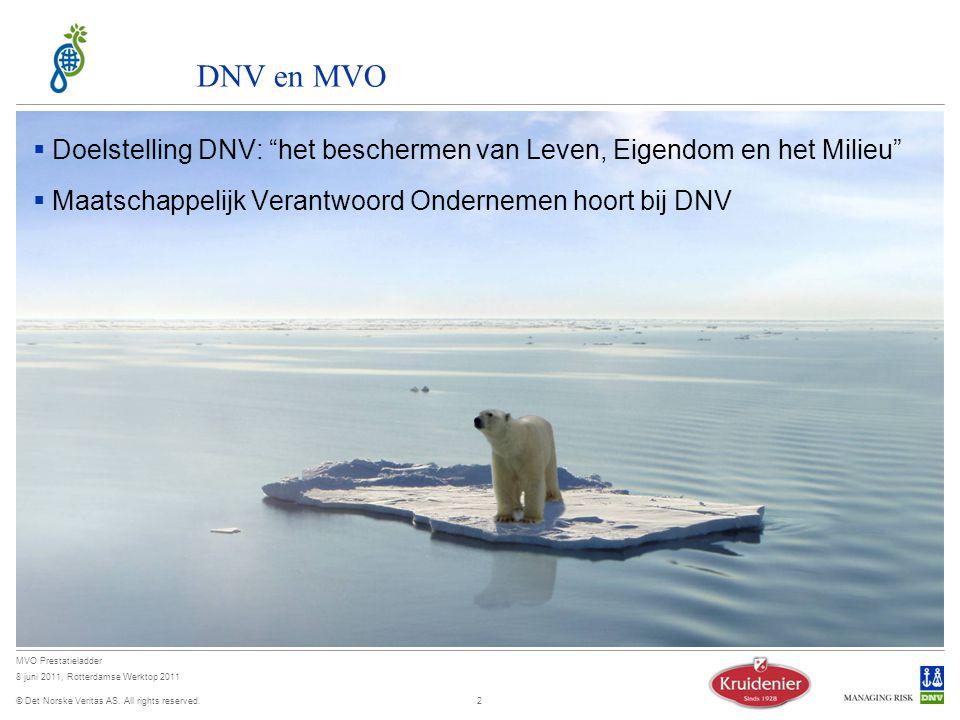 04 April 2017 DNV en MVO. Doelstelling DNV: het beschermen van Leven, Eigendom en het Milieu Maatschappelijk Verantwoord Ondernemen hoort bij DNV.