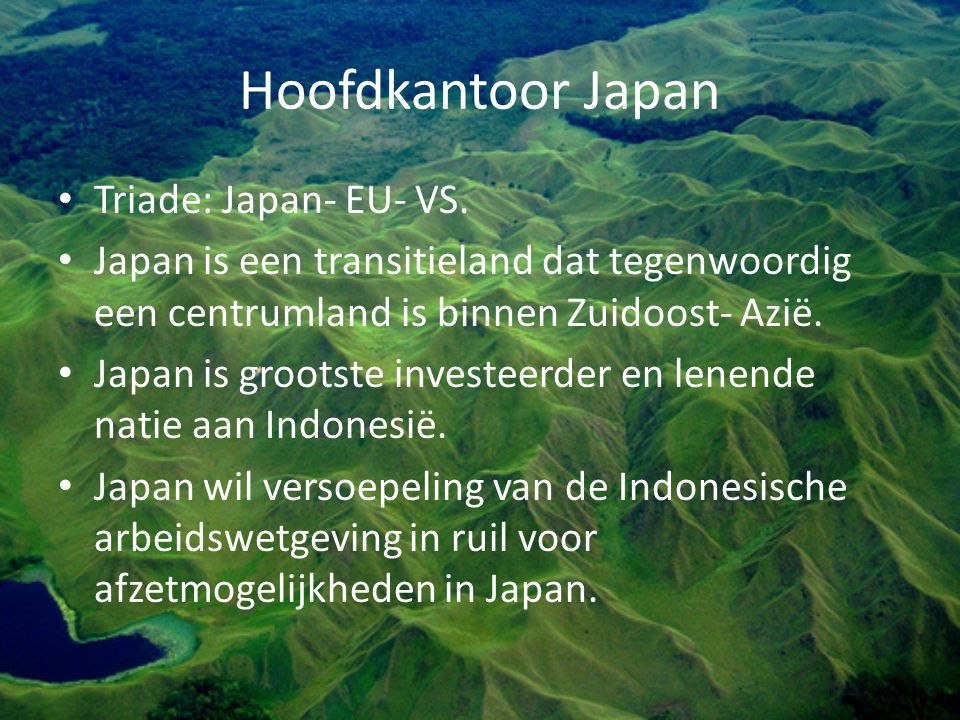 Hoofdkantoor Japan Triade: Japan- EU- VS.