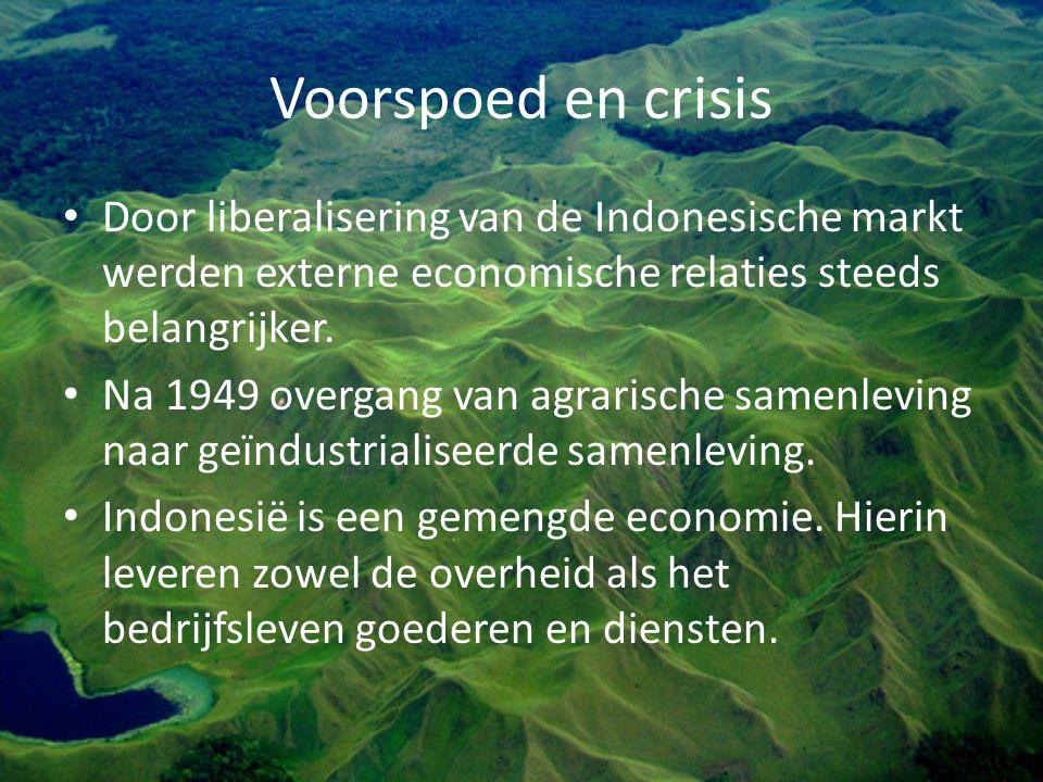 Voorspoed en crisis Door liberalisering van de Indonesische markt werden externe economische relaties steeds belangrijker.