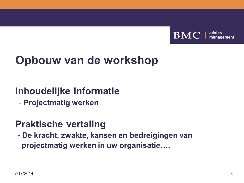 Opbouw van de workshop Inhoudelijke informatie Praktische vertaling