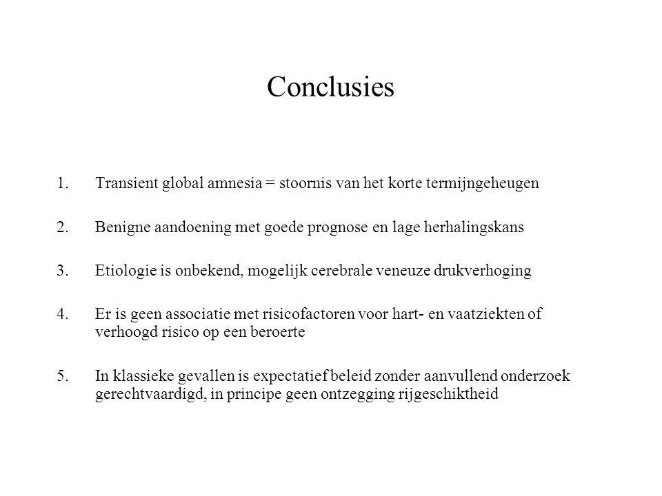 Conclusies Transient global amnesia = stoornis van het korte termijngeheugen. Benigne aandoening met goede prognose en lage herhalingskans.