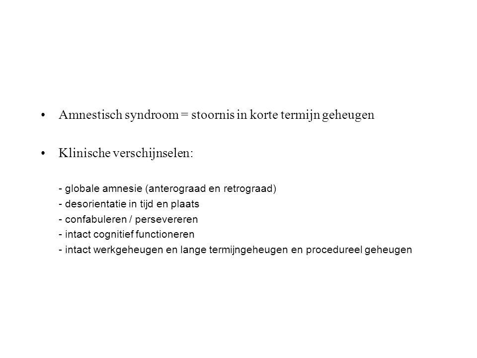 Amnestisch syndroom = stoornis in korte termijn geheugen