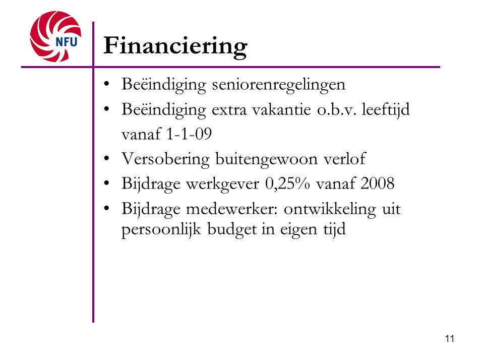 Financiering Beëindiging seniorenregelingen