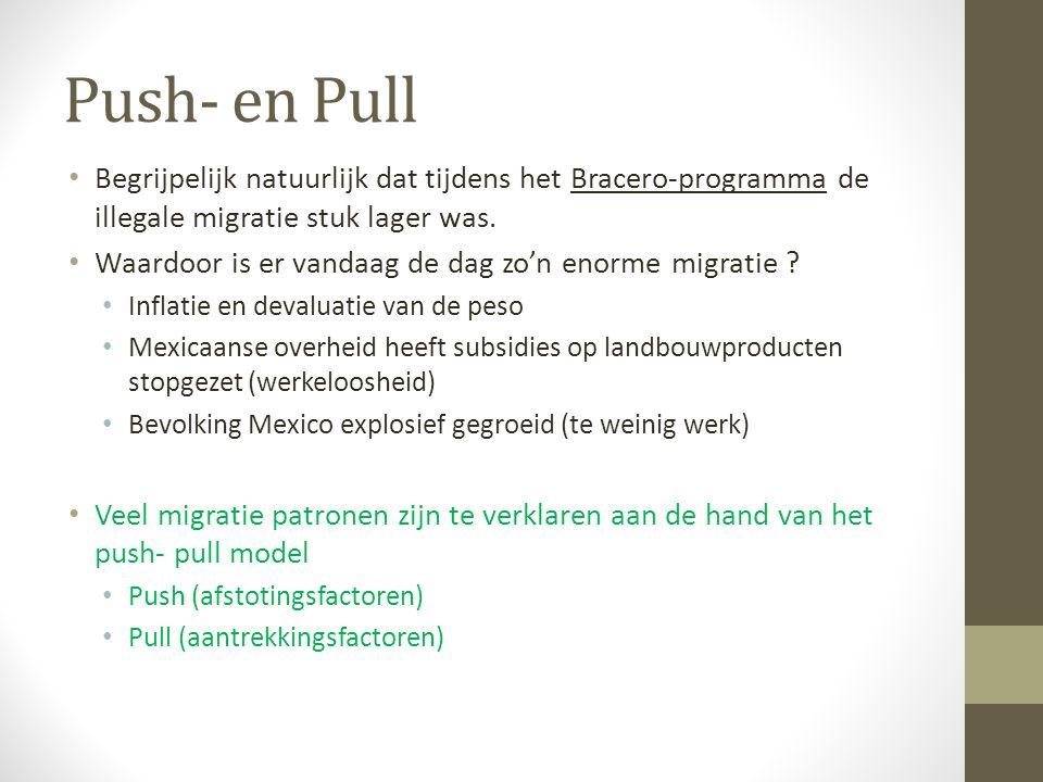 Push- en Pull Begrijpelijk natuurlijk dat tijdens het Bracero-programma de illegale migratie stuk lager was.