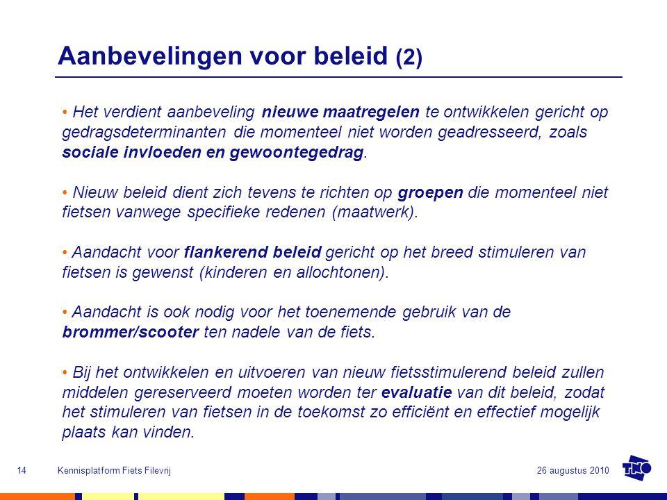 Aanbevelingen voor beleid (2)