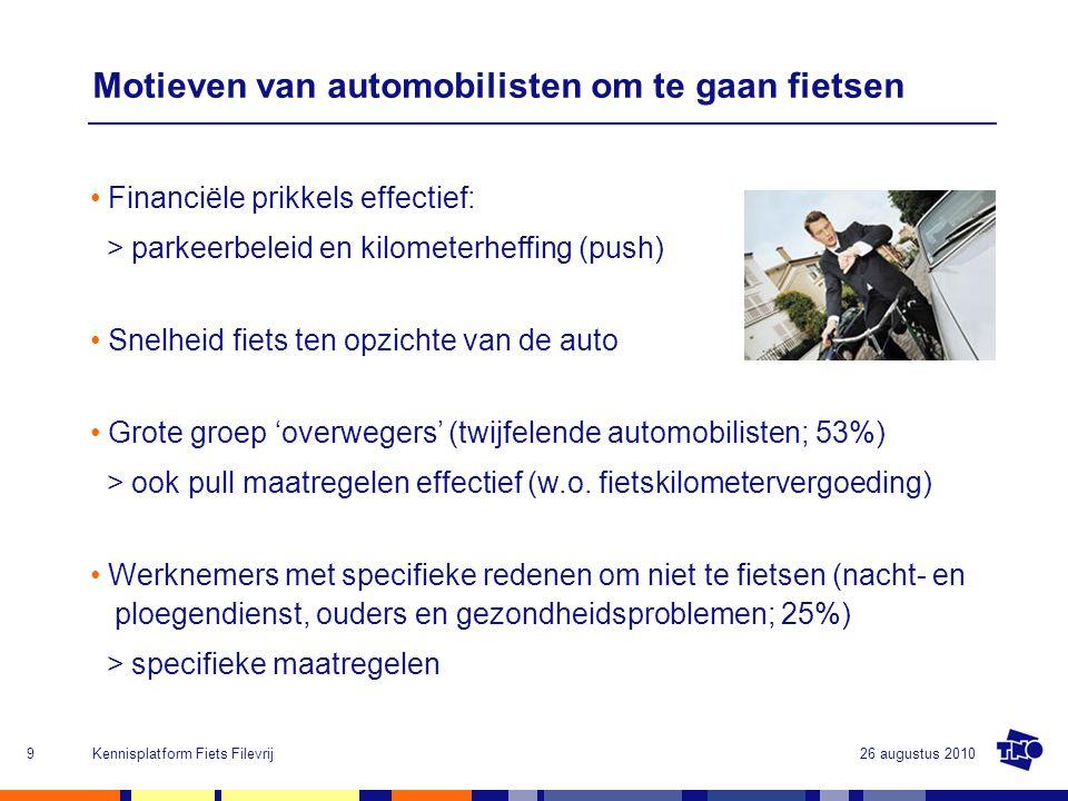 Motieven van automobilisten om te gaan fietsen