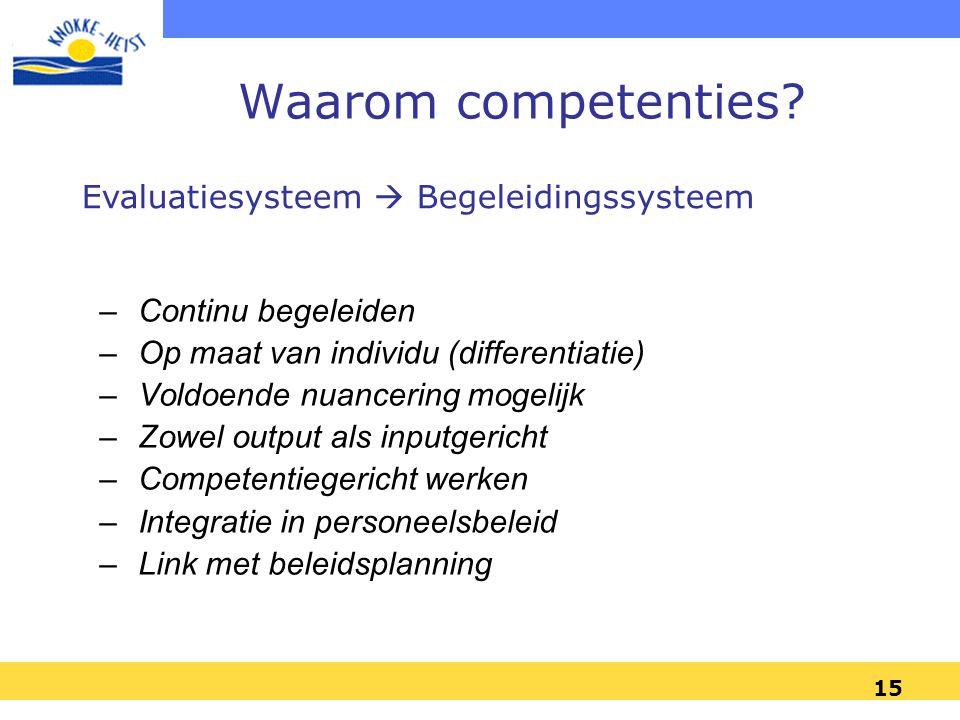Waarom competenties Evaluatiesysteem  Begeleidingssysteem