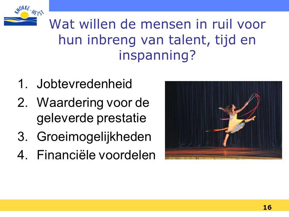 Wat willen de mensen in ruil voor hun inbreng van talent, tijd en inspanning