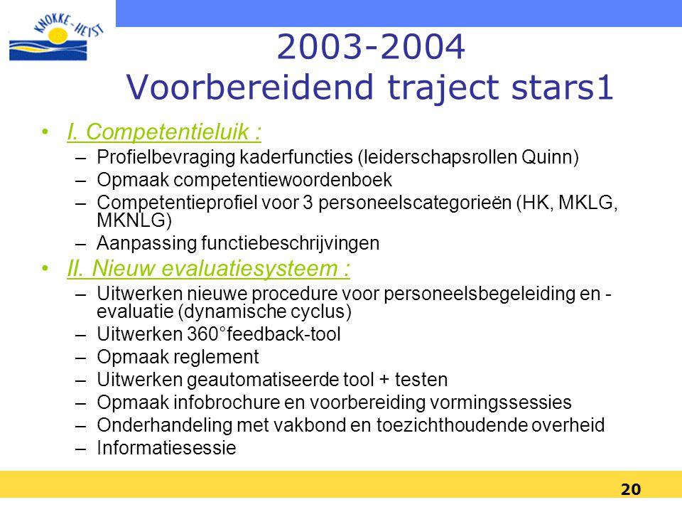 2003-2004 Voorbereidend traject stars1