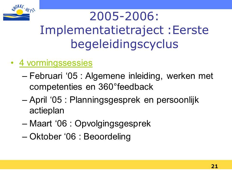 2005-2006: Implementatietraject :Eerste begeleidingscyclus