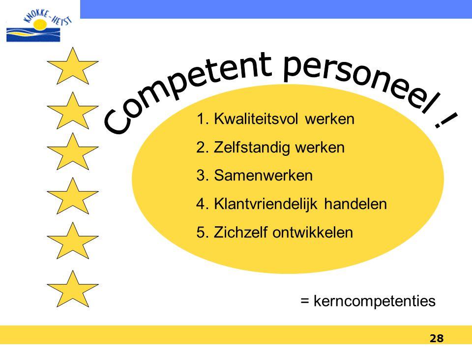 Competent personeel ! Kwaliteitsvol werken Zelfstandig werken