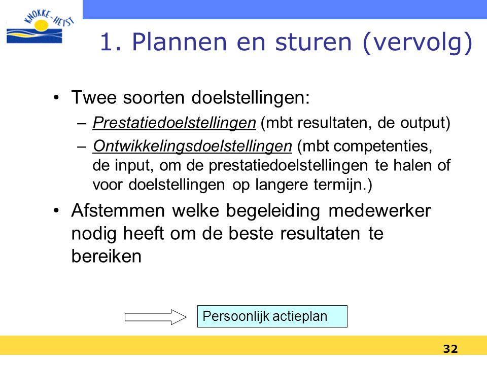 1. Plannen en sturen (vervolg)